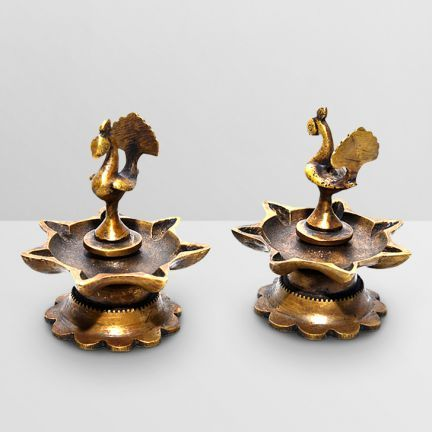 Ethnic Brass Traditional Indian Deepak Pair - Add oodles of style to your home with an exciting range of designer furniture, furnishings, decor items and kitchenware. We promise to deliver best quality products at best prices.