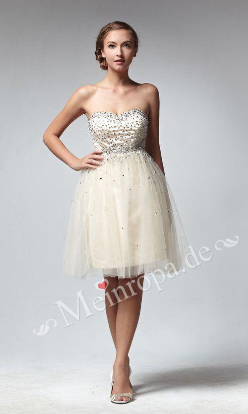Herz-Ausschnitt mit glaezenden Pailletten Party Kleid knielang ASLY383 [ASLY383] - €123.04 :