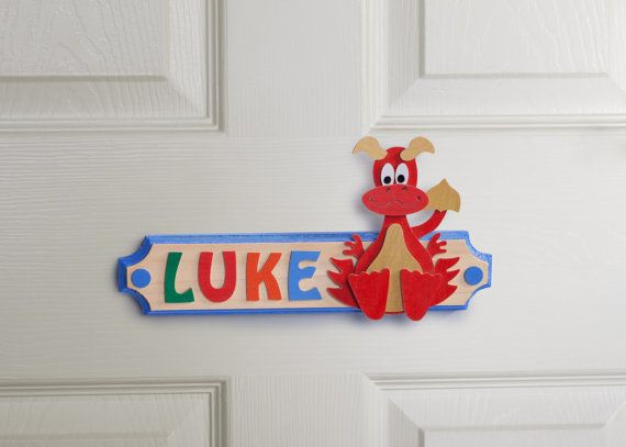 Welsh Dragon Personalised Name Plaque Wooden Door Sign by G&O Bambino