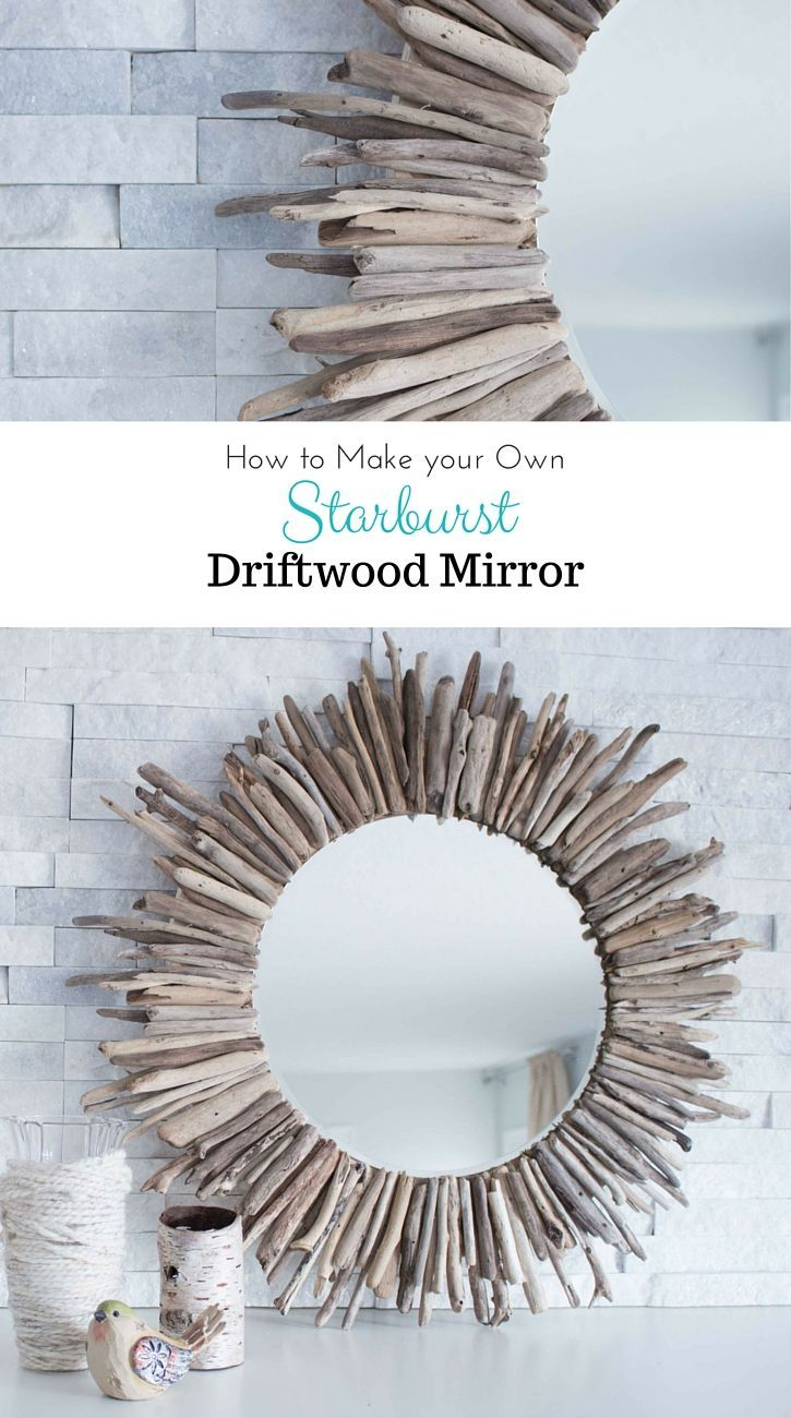 A beautiful rustic round mirror framed by pieces of driftwood check out the step