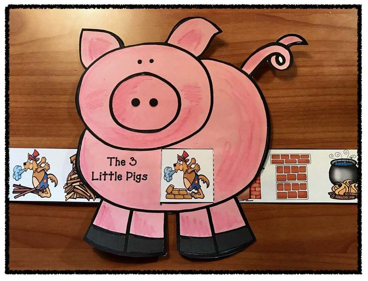 "Reading: Sequence & retell the story ""The 3 Little Pigs"" with this cute fairy tale ""slider"" craft. comes with color + black & white patterns."