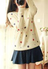 Top loja de queda flor impresso mulheres camisola solta de manga comprida O Pullovers Tricotado malhas Tops(China (Mainland))