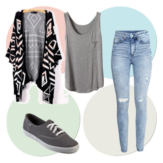 """School outfit with Aztec cardigan"" by madslovesbball13 on Polyvore"