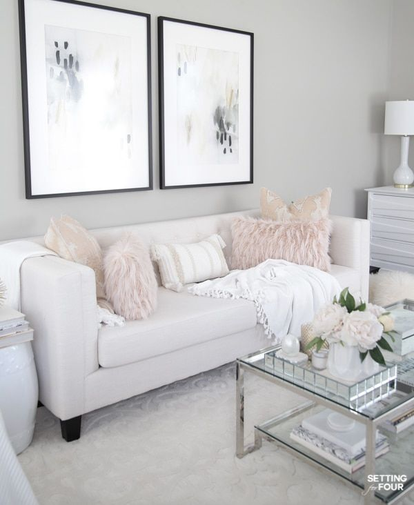 Elegant Spring Living Room Decorating Ideas In 2020 White Sofa Living Room Pink Living Room White Couch Living Room