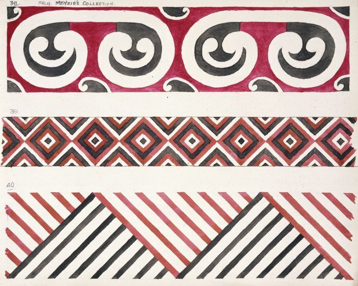 Godber, Albert Percy, 1876-1949 :[Drawings of Maori rafter patterns]. 35. From Menzies Collection; 39 and 40. [1939-1947].