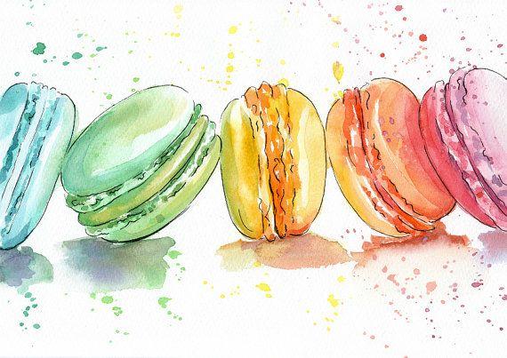 Acuarela de macarrones impresión acuarela por AnellHappyWatercolor
