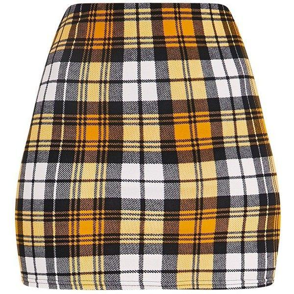 Rosa Yellow Check Print Mini Skirt ($14) ❤ liked on Polyvore featuring skirts, mini skirts, bottoms, mini skirt, patterned skirts, short mini skirts, print skirt and short skirts