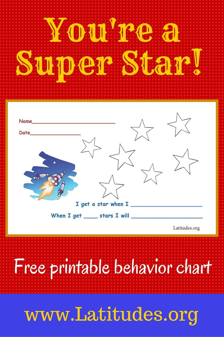 An incentive chart like this super star behavior chart is best used for encouraging a single behavior at home or school. Depending on the type of behavior you want to reinforce, this chart can be used each time a specific behavior takes place or on a time interval (such as on the half hour, or at each mealtime) when a level of the behavior has been reached.