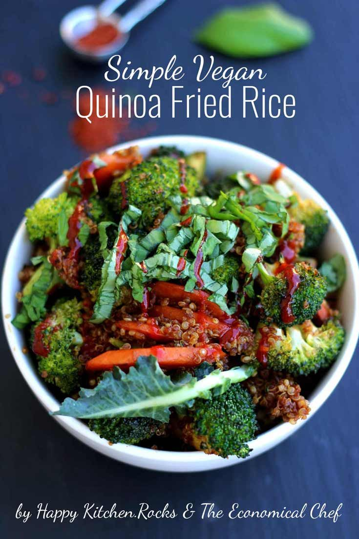 Simple Vegan Quinoa Fried Rice recipe is the healthy and easy alternative to the take-out classic, featuring flavorful vegetables and protein-packed quinoa! Delicious vegan dinner ready in 15 minutes!