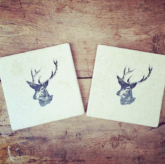 Handmade STAG HEAD natural stone tile Coaster or by ENCOREHOMEgift