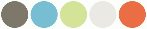 ColorCombo979 - ColorCombos.com color palettes, color schemes, color combos with hex colors codes #7C786A, #77BED2, #D3E397, #EBE9E4, #EB6E44 and color combination tags BURNT SIENNA, CARARRA, DOWNY, GREEN YELLOW, LIGHT BLUE, ORANGE YELLOW, PABLO, RED ORANGE, YELLOW ORANGE, ZOMBIE.