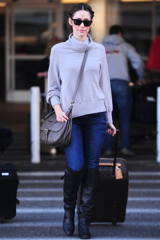 Emmy Rossum stylish airport style
