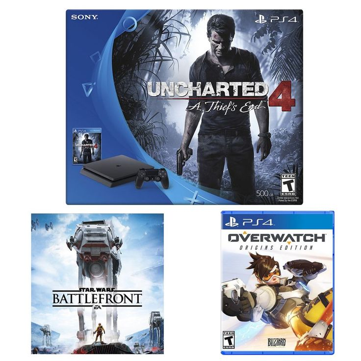 [Newegg via eBay] PlayStation 4 Slim  Uncharted 4 Overwatch and Star Wars Battlefront ($309.99 / -$80 20% off)