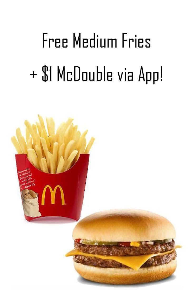 Free Medium Fries 1 Mcdouble Via App Food Coupons Deals