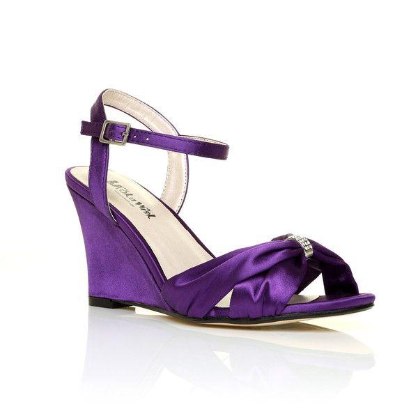 ANGEL Purple Satin Wedge High Heel Strappy Bridal Shoes