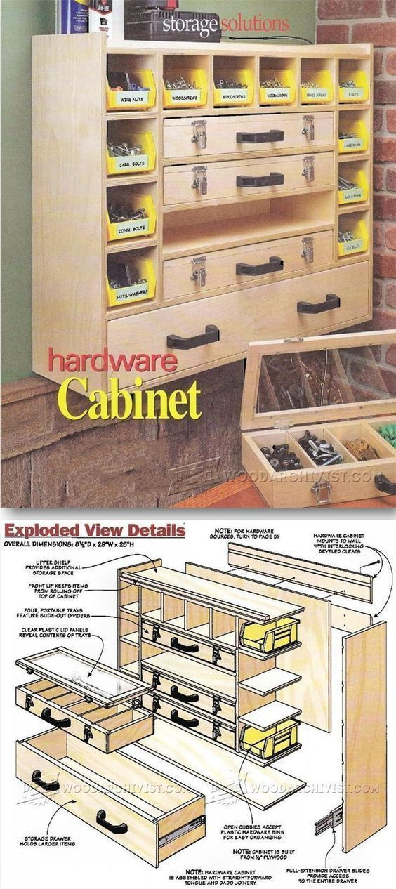 Hardware Cabinet Plans - Workshop Solutions Projects, Tips and Tricks   WoodArchivist.com #WoodworkingBench
