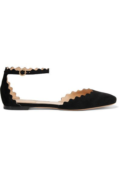 CHLOÉ Scalloped Suede Ballet Flats. #chloé #shoes #flats