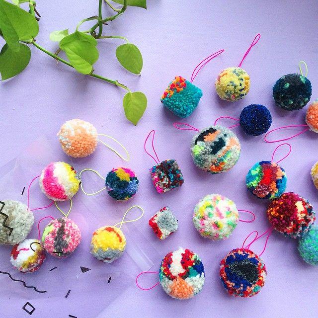 crazy-colorful pompom ornaments