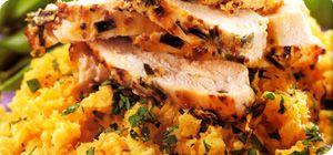 Mustard chicken with swede mash