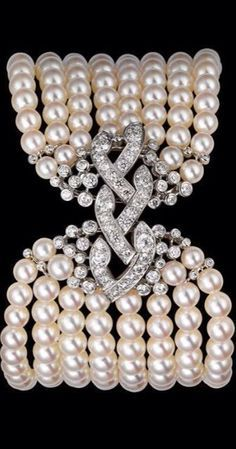 Diamond, Pearl, and Platinum bracelet by Cartier