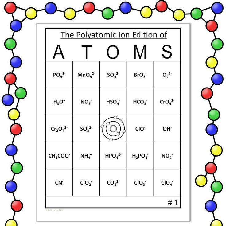 Polyatomic Ion Bingo! This game comes with 30 unique student cards with formulas AND 30 unique student cards with names, call-out cards with formulas, call-out cards with names, and markers!