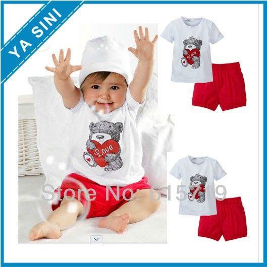 2014 новых 2 шт tops+pants сердце ребенка дети наряды несут картины набор одеёды 0-3 год бесплатной доставкой 215,53