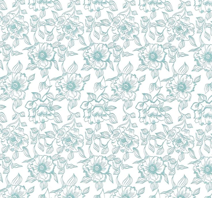 Details About Blue Green Teal Toile White Floral Flower