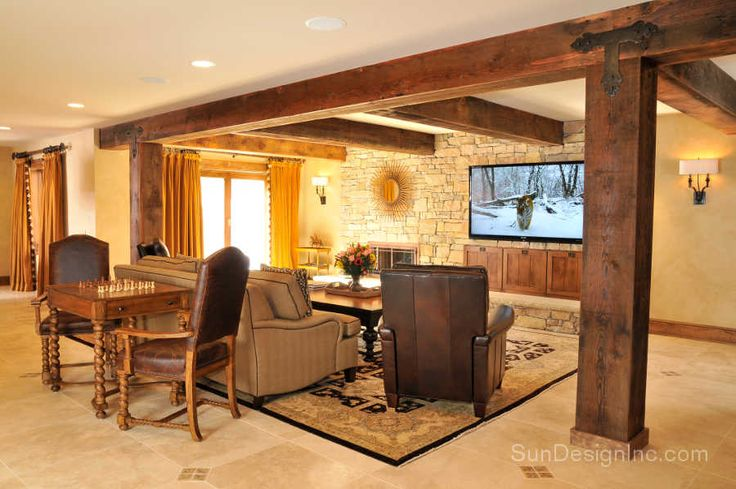Award winning rustic basement retreat | remodeling project | Sun Design Remodeling Specialists, Inc.