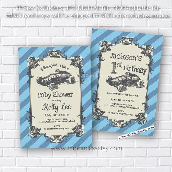 race car baby shower  vintage car baby shower invitation