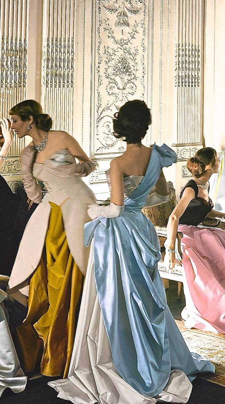 Charles James Gowns, 1950s formal evening gown long dress white blue satin tan pink black draping designer couture vintage fashion style model color print ad