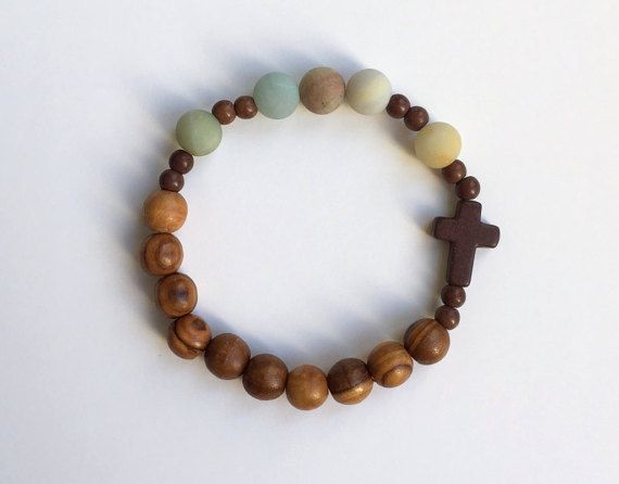 Olive Wood and Amazonite Rosary Bracelet by TheSofShop on Etsy