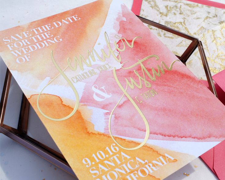 watercolor brush stroke and gold foil wedding save the date, custom wedding invitations, modern artistic design, modern calligraphy, pink, coral orange and gold