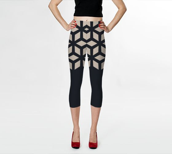 Retracing Steps capri leggings by Bunhugger Design
