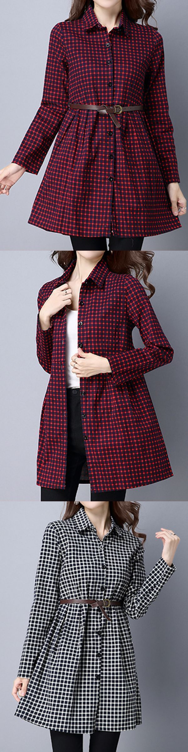 Casual dress youtube plaid lapel long sleeve belt women elegant shirt dress #casual #dresses #bodycon #casual #dresses #for #30 #year #olds #casual #dresses #next #day #delivery #casual #dresses #singapore