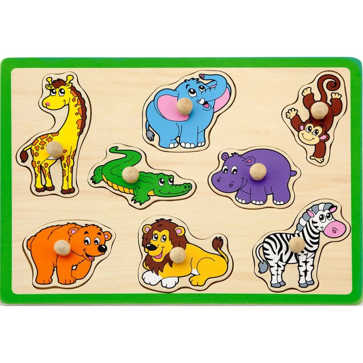 Wooden Wild Animals Chunky #Peg Puzzle