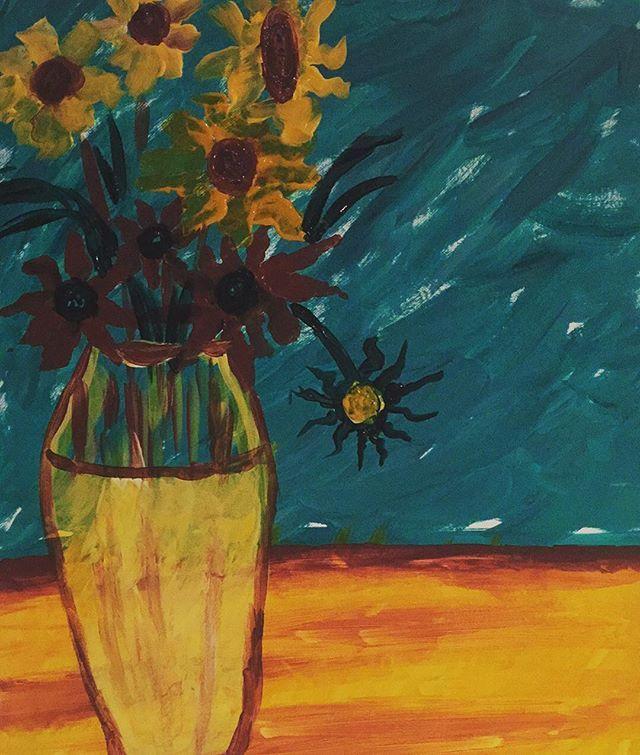 My first ever attempt at painting... Van Gogh's sunflowers!  #paintedcabernet #sb #mybackyard #santabarbara #downtown #vangogh #sunflower @lo2385