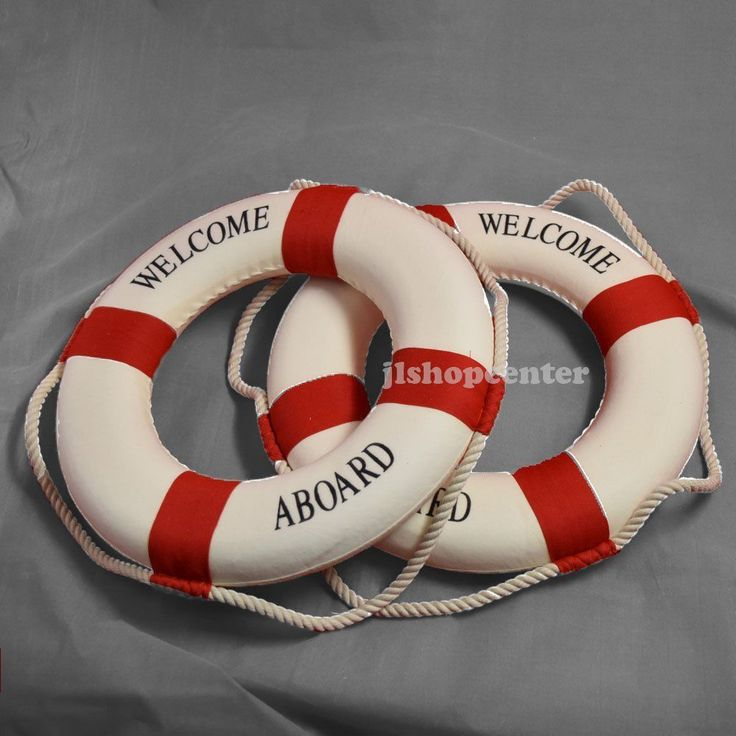 """2 Pieces X 14"""" Red Lifebuoy Life Float Ring Nautical Item Home Office Decoration"""