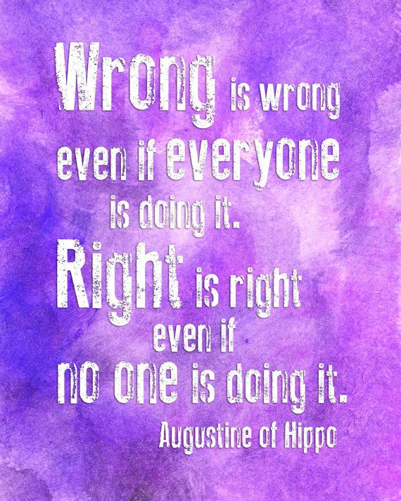 Wrong is Wrong Anti Bullying Quote - 11x14 Watercolor Typography Print - Classroom Poster. $20.00, via Etsy.