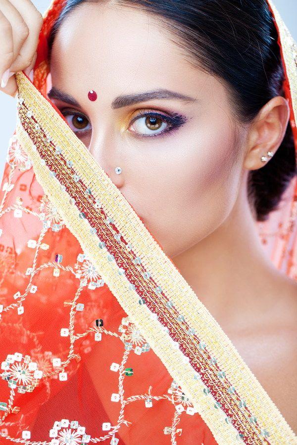Indian flirtatious woman Stock Photo