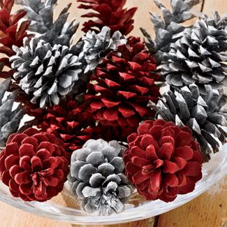 Lightly spray-paint half the cones in cheery cranberry, the rest in shimmery silver; display in a clear glass bowl