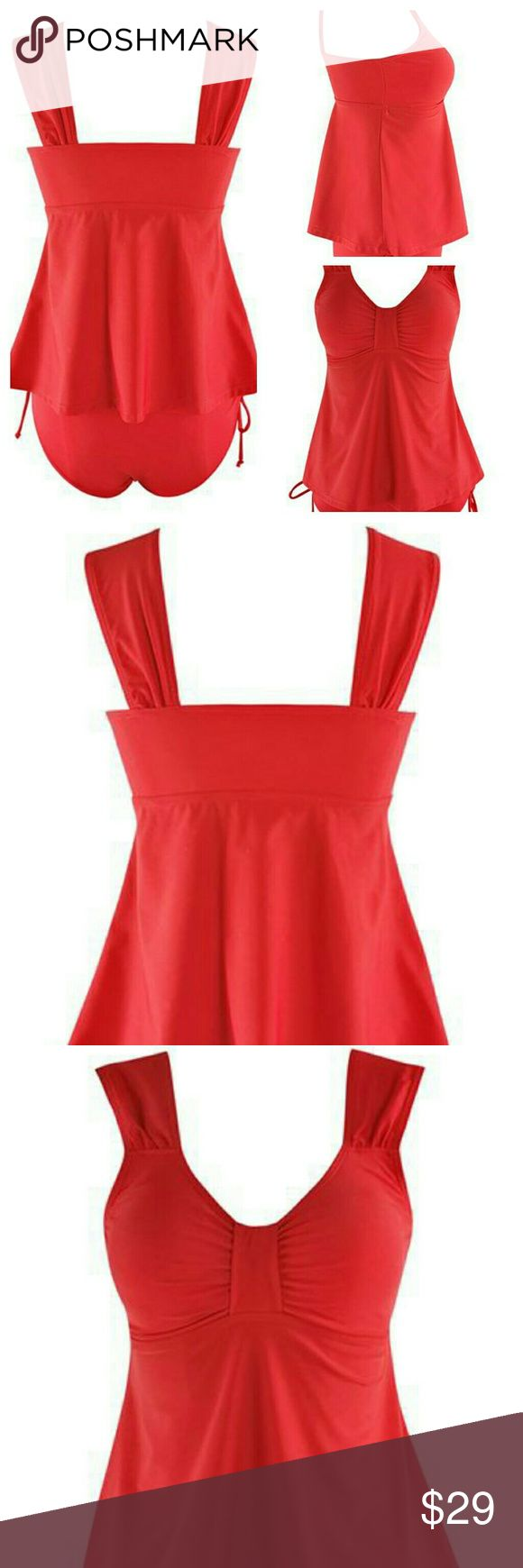 Brand New Red Tankini with cute ties on bottom Material : Nylon  Pattern Type : Solid Red  Swimwear Type : Tankini  Support :Wire Free  Bra Style :Padded  Sanity liner fully intact, brand new suit. Swim Bikinis