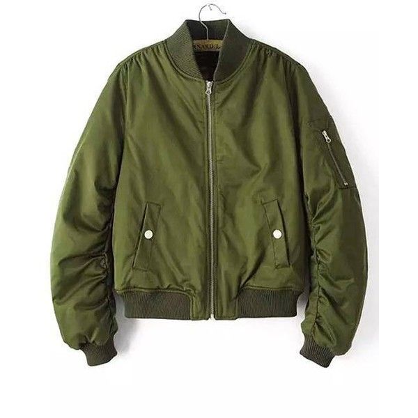 Yoins Military Quilted Bomber Jacket ($33) ❤ liked on Polyvore featuring outerwear, jackets, yoins, coats & jackets, green, military bomber jacket, bomber jacket, puffy jacket, long sleeve jacket and green military style jacket