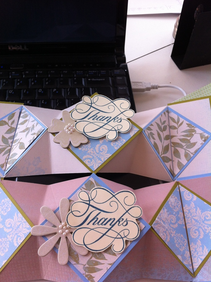 Diamond fold Thank You card