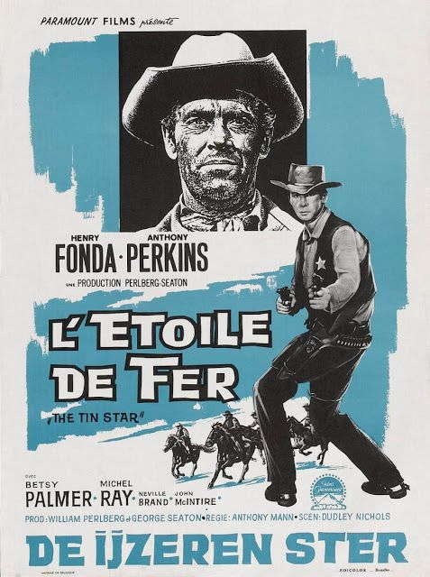 THE TIN STAR (1957) - Henry Fonda - Anthony Perkins - Directed by Anthony Mann - Paramount - German movie poster.