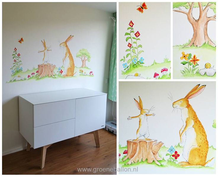 Hazeltje - raad eens hoeveel ik van je hou? | muurschildering | babykamer | kinderkamer | www.groeneballon.nl