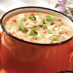Campbell's Kitchen Cheesy Chicken Chowder - a great way to warm up! Use a Swiss Diamond saucepan or soup pot to prevent scorching. Clean-up time under 5 minutes.