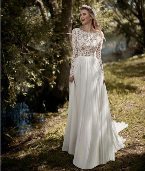Plus size Vintage Long Sleeves  Boho Wedding Dress