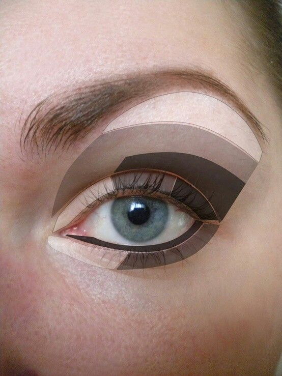 Guide for a contoured and highlighted look for the quad eye shadow palettes.