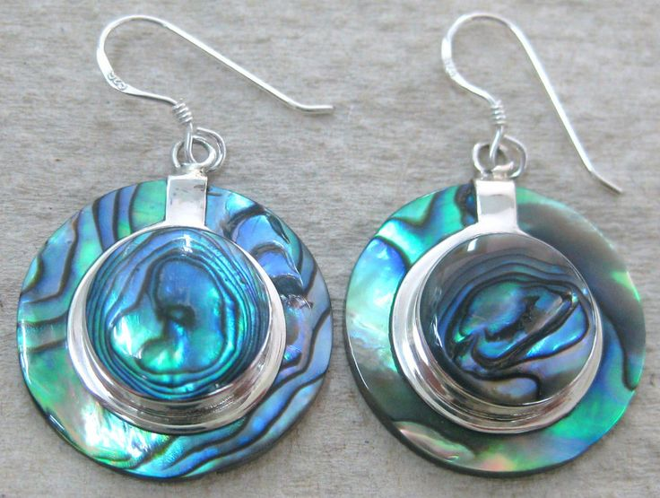Blue Turquoise disc Earrings and 925 sterling silver hooks KDexsy