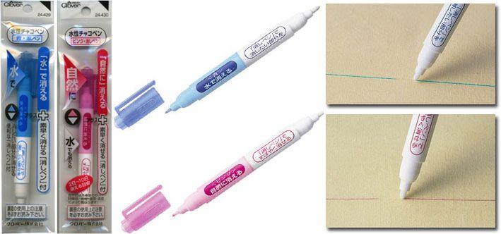 Clover : Waterbased chaco pen with eraser / 1pc Pen khusus untuk memberi tanda (marking) pada kain. Cocok untuk patchwork, quilting dan sewing. Water soluble : Tintanya dapat dengan mudah dihilangkan/dibersihkan begitu kain dicuci dengan air. #id13489